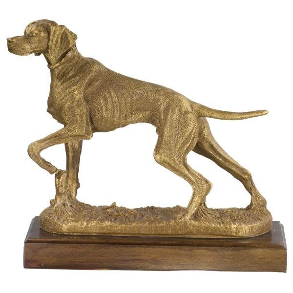 Figura perro en posición de caza dorada